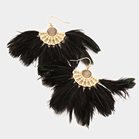 Round Semi Precious Stone Feather Fringe Earrings