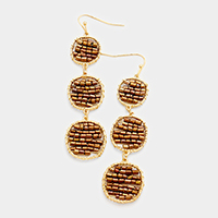 Triple Beaded Disc Dangle Earrings