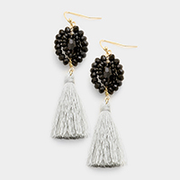 Weave Beaded Drop Tassel Earrings