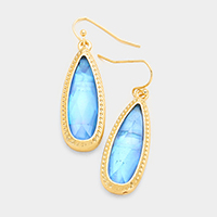 Metal Teardrop Stone Earrings