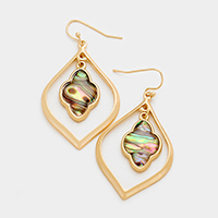Abalone Quatrefoil Metal Hoop Dangle Earrings