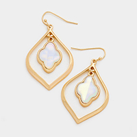Mother of Pearl Quatrefoil Metal Hoop Dangle Earrings