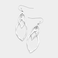 Double Leaf Shaped Hoop Dangle Earrings