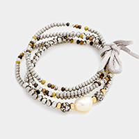 4 Layers Beaded Fresh Water Pearl Accented Stretch Bracelet