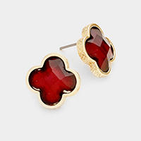 Quatrefoil Stone Stud Earrings