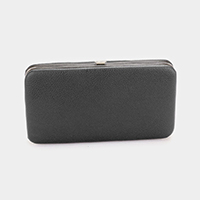 Solid Leather Push Button Closure Wallet