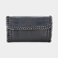 Snake Skin Edge Chain Clutch Bag