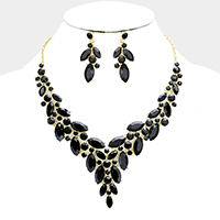 Marquise Oval Stone Cluster Evening Necklace