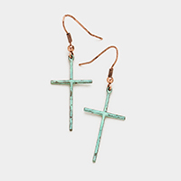 Metal Cross Dangle Earrings