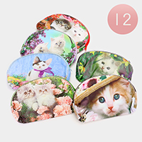 12 PCS - Cat Print Pouch Bags