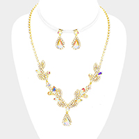 Marquise Rhinestone Leaf Cluster Evening Necklace