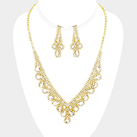 Rhinestone Pave Teardrop Accented Necklace