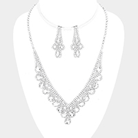 Crystal Rhinestone Teardrop Accented Marquise Necklace