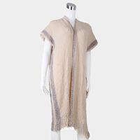 Soft Knit Tassel Fringe Half Sleeves Poncho
