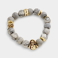 Laugh Lots Semi Precious Metal Buddha Stretch Bracelet