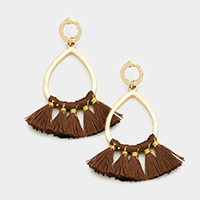 Tassel Fringe Teardrop Hoop Earrings