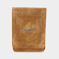 Leather Touch View Flip Cover Cross Bag