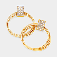 Rhinestone Metal Rectangle Layered Hoop Earrings