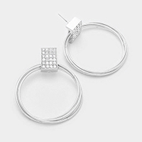 Rectangle rhinestone metal multi-hoop earrings