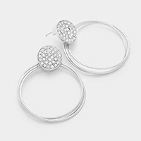 Rhinestone metal multi-hoop earrings