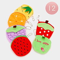 12 PCS Fruits Coin Zipper Purses