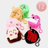 12 PCS Animals Bug Round Coin Zipper Purses