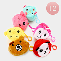 12 PCS Animals Round Coin Zipper Purses