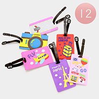 12PCS - Travel Theme Luggage Tags