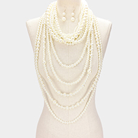 Multi Layered Pearl Armor Bib Necklace