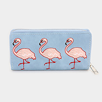 Leather Flamingo Zipper Closure Wallet