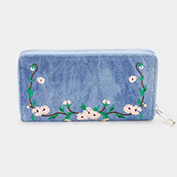 Denim Embroidery Flower Zipper Closure Wallet