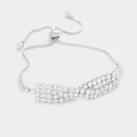 Twisted Cubic Zirconia Evening Bracelet