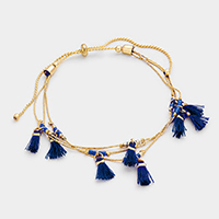 Multi Tassel Station Cinch Bracelet