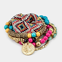 7 Layers Multi Beaded Disc Stretch Bracelet