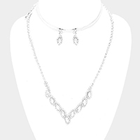 Rhinestone Trim Oval Stone Accented Marquise Necklace
