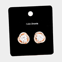 Cubic Zirconia Knotted Round Stud Earrings