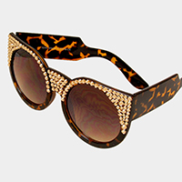 Crystal Embellished Metal Frame Cat Eyes Sunglasses