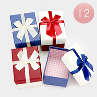 12 PCS Hard Jewelry Bow Deco Gift Boxes