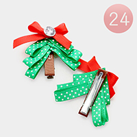 24 PCS Polka Dot Stone Accented Christmas Hair Clips