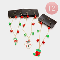 12 PCS Enamel Christmas Theme Necklaces