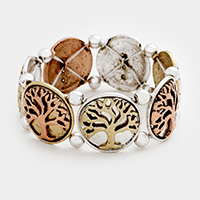 Embossed Tree of Life Metal Stretch Bracelet