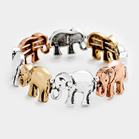 Metal Elephant Stretch Bracelet