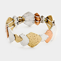 Geometric Textured Metal Stretch Bracelet