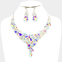 Glass Crystal Marquise Statement Necklace