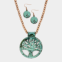 Beaded Filigree Tree of Life Pendant Necklace