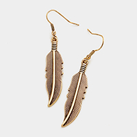 Antique Feather Dangle Earrings