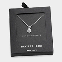 Secret Box _ White Gold Dipped Pineapple Pendant Necklace