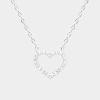 Cubic Zirconia Heart Hoop Pendant Necklace
