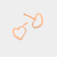 Cubic Zirconia Heart Stud Earrings