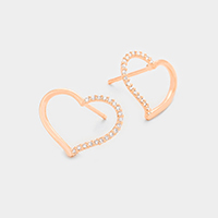 Cubic Zirconia Heart Hoop Stud Earrings